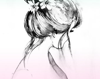Fashion Art Print from Watercolor - Fashion Portrait Painting - Modern Home decor - Fashionista Wall Decor - Soft Colors Hair bun