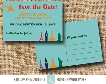 Travel Themed Wedding Invitation or Invite Suite | Retro Invite for Destination Wedding | Customization Included