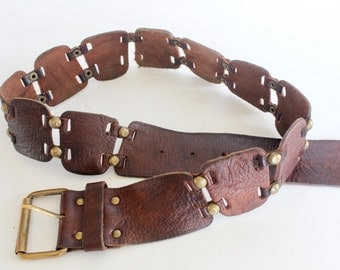 Vintage Brown Leather Belt Vintage Accessory