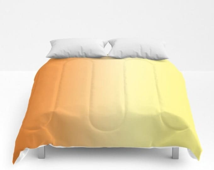 Comforter - Orange to Yellow Ombre Shades  - Bed Cover - Bedding - King - Queen - Full - Made to Order