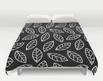 Leaves Duvet, Leaves Comforter, Leaf Duvet, Leaves Bedding, Gray Duvet, Black Duvet, White Comforter, Nature Duvet, Comforter, Bedspread