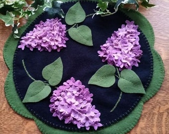 Lilac Beauty Wool Applique Cath Penny Rug Candle Mat Pattern only