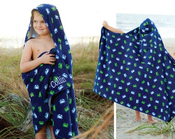 Gettin'  Kids Hooded Towel and Swimsuit...personalized with name or monogram in a choice of fonts. Great as a gift.