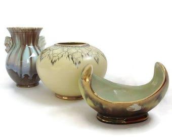 Vintage ceramic vases West German Pottery, set of 3 pieces, instant collection