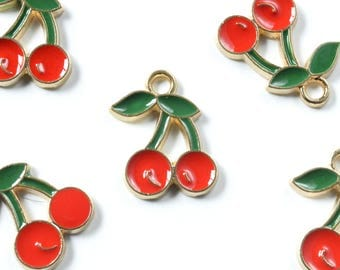 Cherry Charms, Red Summer Fruit Pendant, 5 pieces (170G)