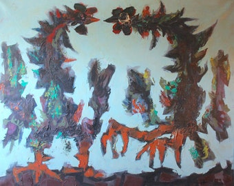 Jean Lurcat Large Original Vintage French Surreal Oil Poster Paint Modern Contemporary European Abstract Painting of Two Roosters Fighting