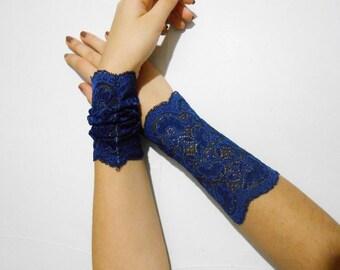 Wide Lace wrist cuff Navy Blue Lace fingerless gloves lolita bracelet Lace Victorian gloves