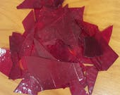 Red stained glass scraps 13 oz (1)