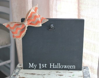 halloween picture frame board . rustic my first halloween customized frame . babys first halloween picture frame . childs holiday frame