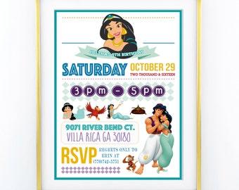 "INVITATION - Disney Aladdin Princess Birthday Invitation - Personalised 5x7"" - Modern, Contemporary - Printable, Digital"