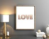 Rose Gold Foil Love 8 x 10 Print - Valentines Printable - Printable Wall Art - Printable Home Decor - Valentines Decor - DIY art print