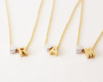 Initial necklace - Gold initial necklace - Heart Initial Necklace - Personalized Necklace