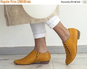 BLACK FRIDAY/CYBER Monday Yellow handmade shoes / Grace Yolk flat leather shoes by Tamar Shalem