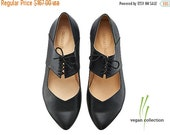 Christmas Sale Vegan Vicky Black ballerina shoes / handmade vegan flats by Tamar Shalem