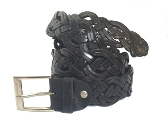 SOLD AS SEEN - Braided Leather Belt, men's leather belt, braided belt, trousers belt