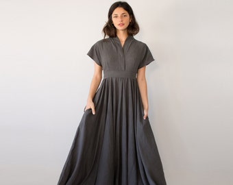 Avant Garde Dress, Gray Maxi Dress, Fit Flare Dress, Avant Garde Clothing, Maxi Dress, Romantic Women's Dresses, Linen Dress, V Neck