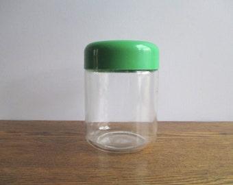 Vintage Vignelli for Heller Green-lidded Glass Canister