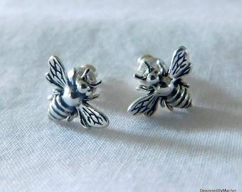Sterling silver honeybee earrings, post earrings, nature jewelry, insect earrings