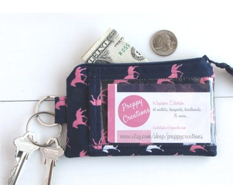Preppy ID Wallet, ID Badge Holder, Keychain Wallet ID, College Student Gift