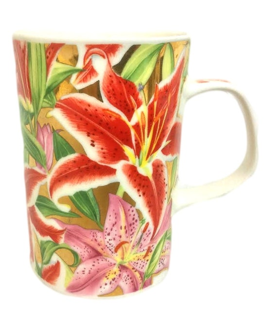 Dunoon Bone China Coffee Mug, Asian Lilies