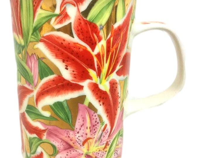 Dunoon Bone China Coffee Mug, Stargazer Lilies, Vintage Gift For Women, Gift For Her, Gift For The Wife For Christmas