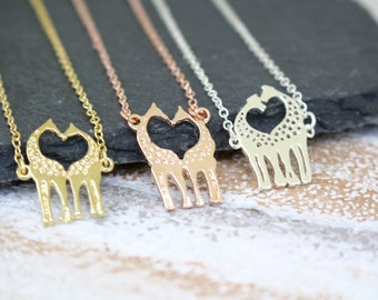Giraffe Necklace, Rose Gold Necklace, Animal Jewellery, Wildlife Jewellery, Animal Lover Jewellery, Safari Necklace, Giraffe Jewelry