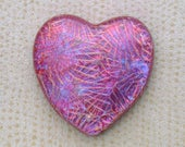 34x34mm Heart Dichroic Glass Cabochons - Starry Magenta/Red/Blue Special Color - TR948  // Handmade