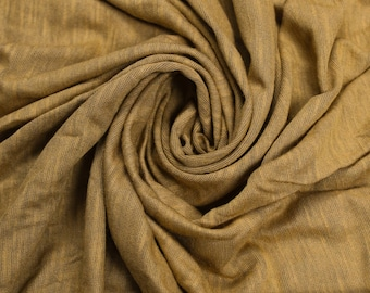 Mustard Slub Printed Sandwash Rayon Fabric by the Yard - Style 705