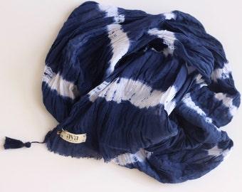 Indigo Blue Cotton Scarf, Shibori Scarf, Blue cotton Scarf, Hand Dyed Scarf, Cotton Scarf, Shibori Accessories