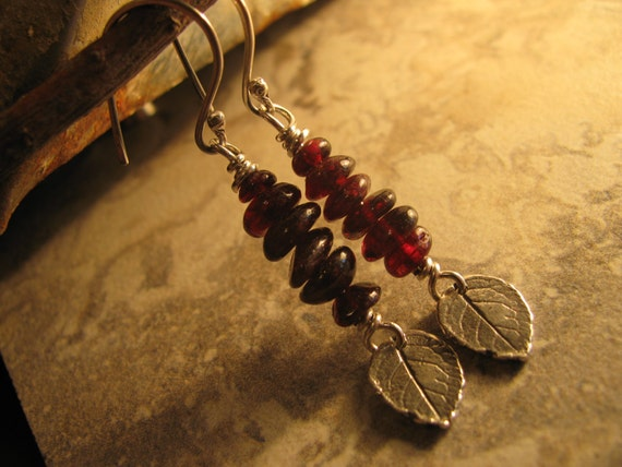 Garnet Sterling Silver Leaf Earrings Handmade/Hand Forged Dangle Earrings Sterling Silver Earrings Cairn Toniraecreations
