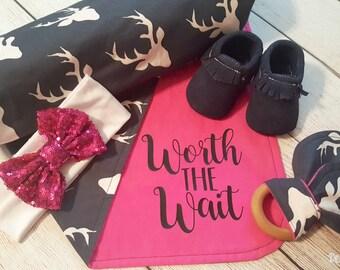 Baby Swaddling Blanket, Deer, Worth the Wait, Baby Girl Deer Gift, Baby Shower Gift, Baby Girl Deer Blanket
