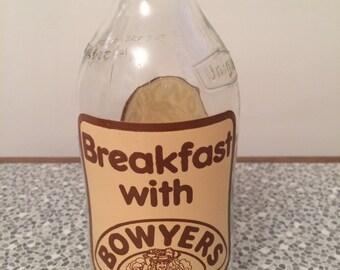 Vintage Unigate milk bottle Breakfast with Bowyers