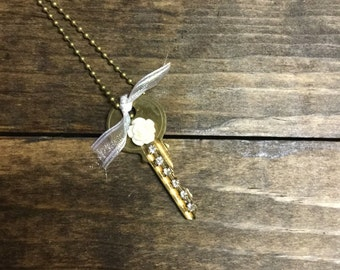 Vintage Rhinestone Key Necklace