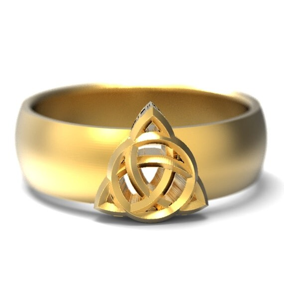 Celtic Signet Ring With Trinity Interweave Knot Design in 10K 14K 18K Gold, Palladium or Platinum Made in Your Size CR-158