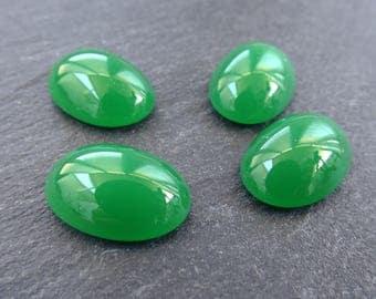 4pcs Green Czech Oval Glass Dome Cabochon Beads - 18 x 12mm