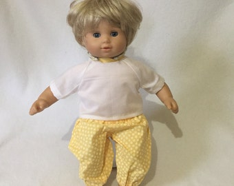 Bitty Baby Outfit - Doll Clothes - 15 Inch Doll Top and Pants - Yellow Floral - Bitty Twins
