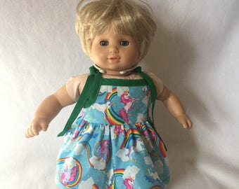 """Sundress for Dolls - Doll Clothes - Doll Dress - Dress for Bitty Baby - Bitty Twin - Unicorns - Rainbows - 15"""" Doll Outfit"""
