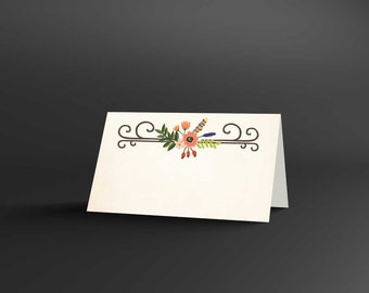 Woodland Floral Blank Place Cards
