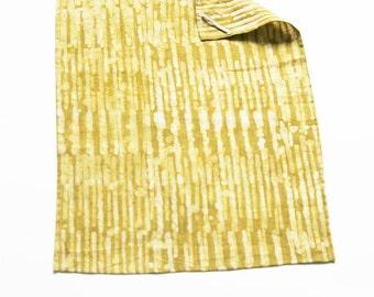 Maize Yellow Stripe Tea Towel- Handprinted Batik Linen Kitchen Towel
