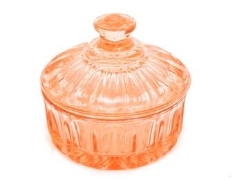 Vintage Bagley Peach Glass Trinket Box, Glass Jewelry Box, Glass Powder Box, Lidded Jewelry Box, Powder Dish, Glass Vanity Box, Powder Jar