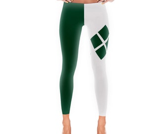 Harley Quinn Style St. Patrick's Day Leggings. Irish. Green and White. Polyester Spandex Blend. Made in the USA. XS-XL.