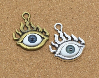 Evil Eye Charm, 10 pcs Antique Silver/Antique Bronze Evil Eye Charms Pendant, 28x23mm Eye Charm