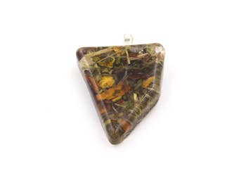 Opportunity and Road Opener Pendant with flower and herb Pendant in Resin