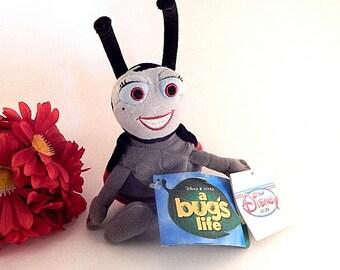 "Ladybug Stuffed Animal Mini Bean Bag Toy Walt Disney Movie A Bug's Life 8"" Collectible Disneyana"