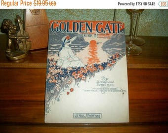 Golden Gate Open For Me Antique Sheet Music Vocal Piano Home Town San Francisco California  Love Song Vintage 1919 Leo Feist Publishing