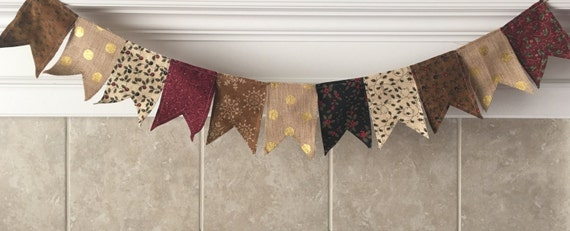 Christmas Burlap & Fabric Pendant Bunting in Cranberry Red, Olive Green, Brown, Cream, Black, Gold-Holiday, Decoration, Photography, Mantel
