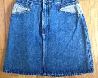 80s 90s Western Denim Skirt Jean Skirt | High Waisted Denim Skirt Southwestern Style