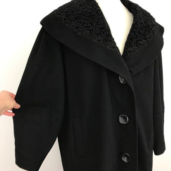 1950s black coat ornate lambswool shawl collar UK 18
