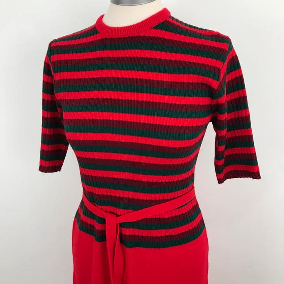 Vintage knitted dress striped red knit 1970s Mod scooter girl UK 12 knitwear nautical bardot st michael Northern Soul