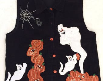 Vintage Halloween Vest womens medium, lightweight corduroy ghost vest, appliqué vest